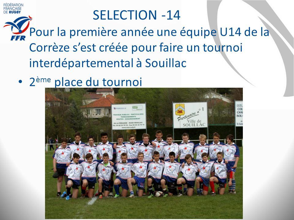 SELECTION -14 Pour la première année une équipe U14 de la Corrèze s'est créée pour faire un tournoi interdépartemental à Souillac.