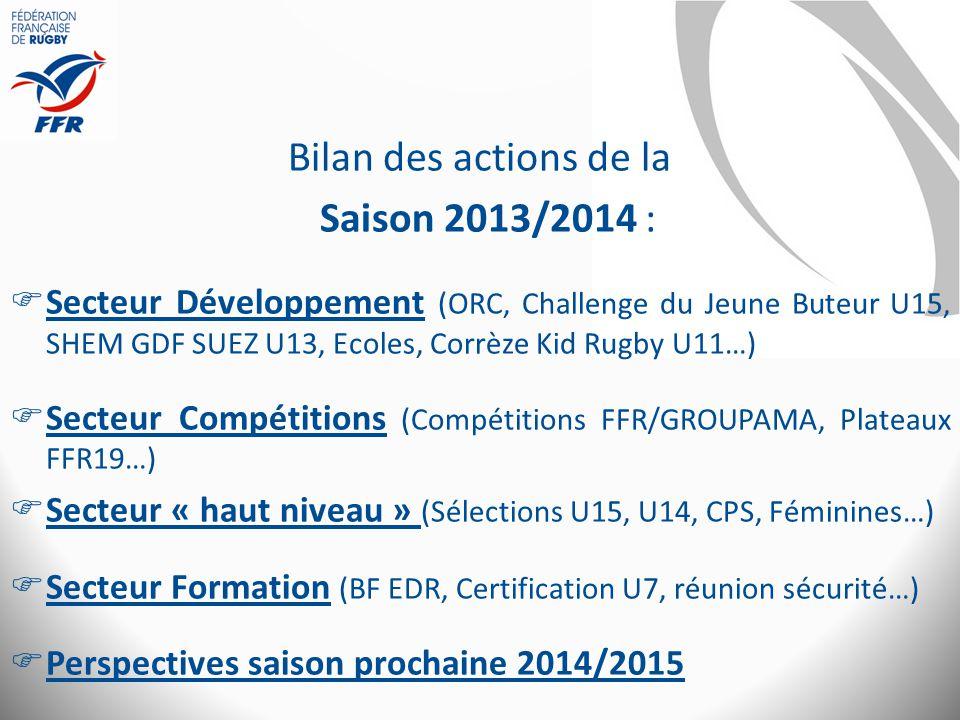 Bilan des actions de la Saison 2013/2014 :