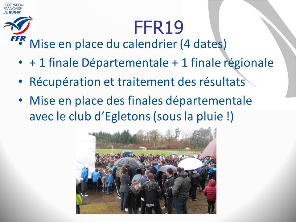 FFR19 Mise en place du calendrier (4 dates)
