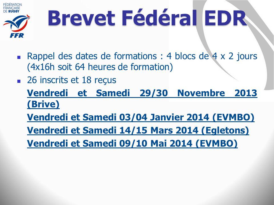 Brevet Fédéral EDR Rappel des dates de formations : 4 blocs de 4 x 2 jours (4x16h soit 64 heures de formation)