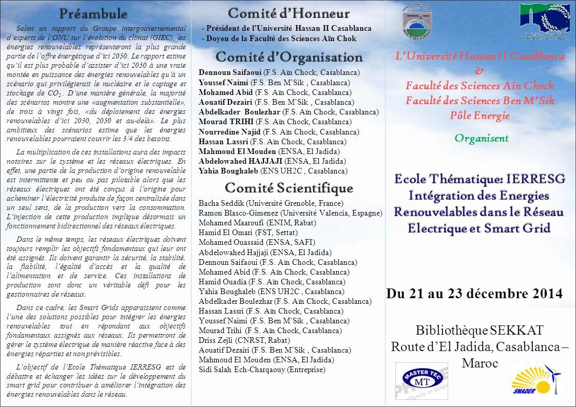 Préambule Comité d'Honneur Comité d'Organisation Comité Scientifique