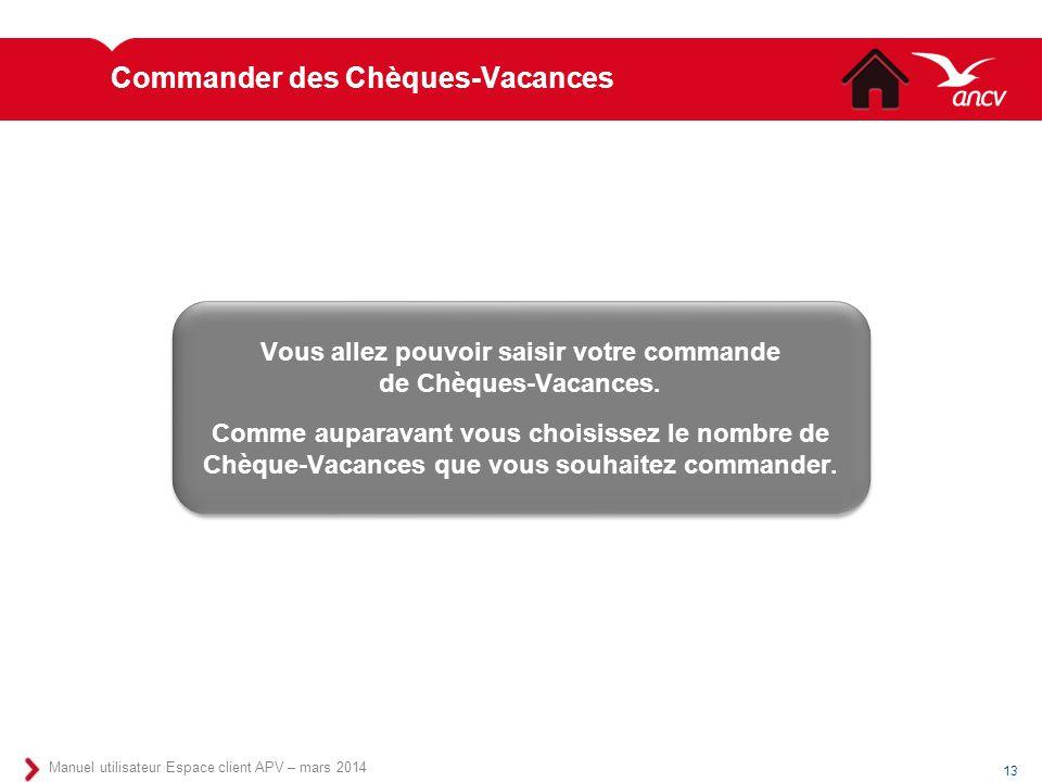 Commander des Chèques-Vacances
