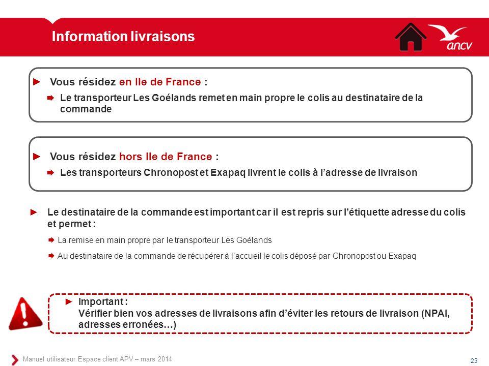 Information livraisons