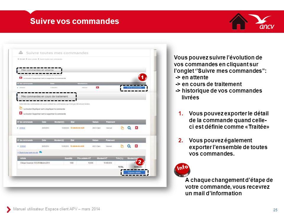 Suivre vos commandes Vous pouvez suivre l'évolution de vos commandes en cliquant sur l'onglet ''Suivre mes commandes'':