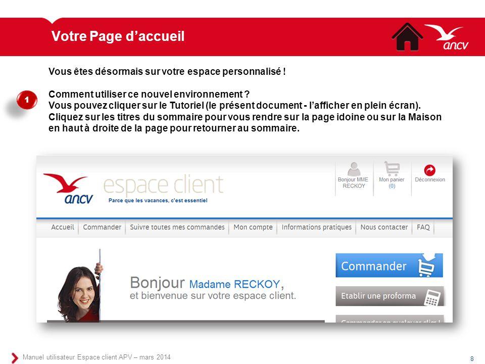 Votre Page d'accueil Vous êtes désormais sur votre espace personnalisé ! Comment utiliser ce nouvel environnement