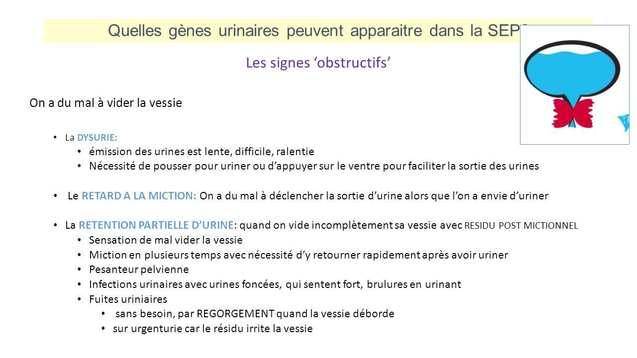 Quelles gènes urinaires peuvent apparaitre dans la SEP