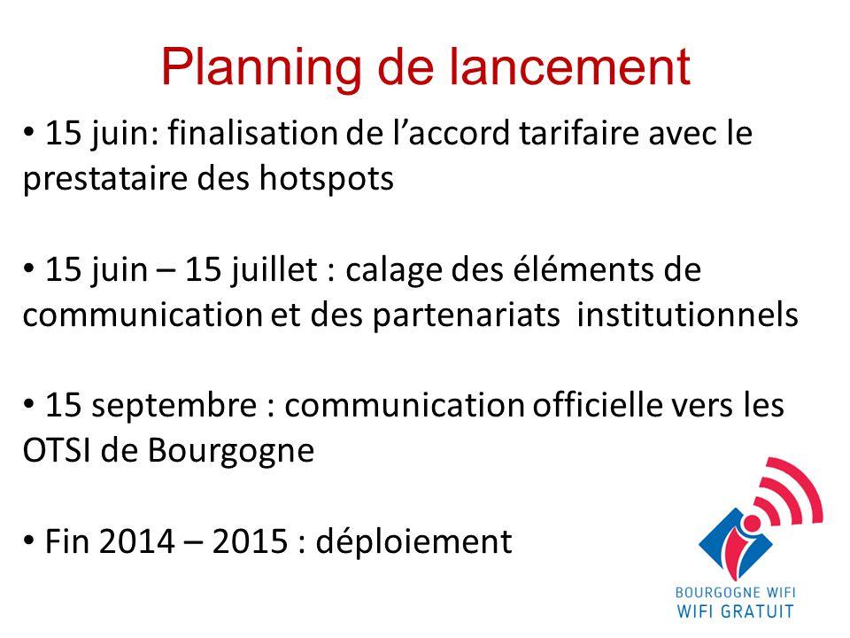 Planning de lancement 15 juin: finalisation de l'accord tarifaire avec le prestataire des hotspots.