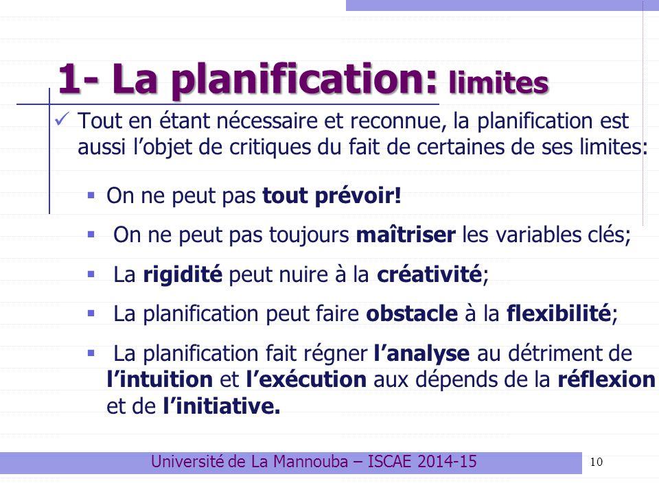1- La planification: limites