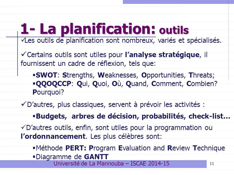 1- La planification: outils