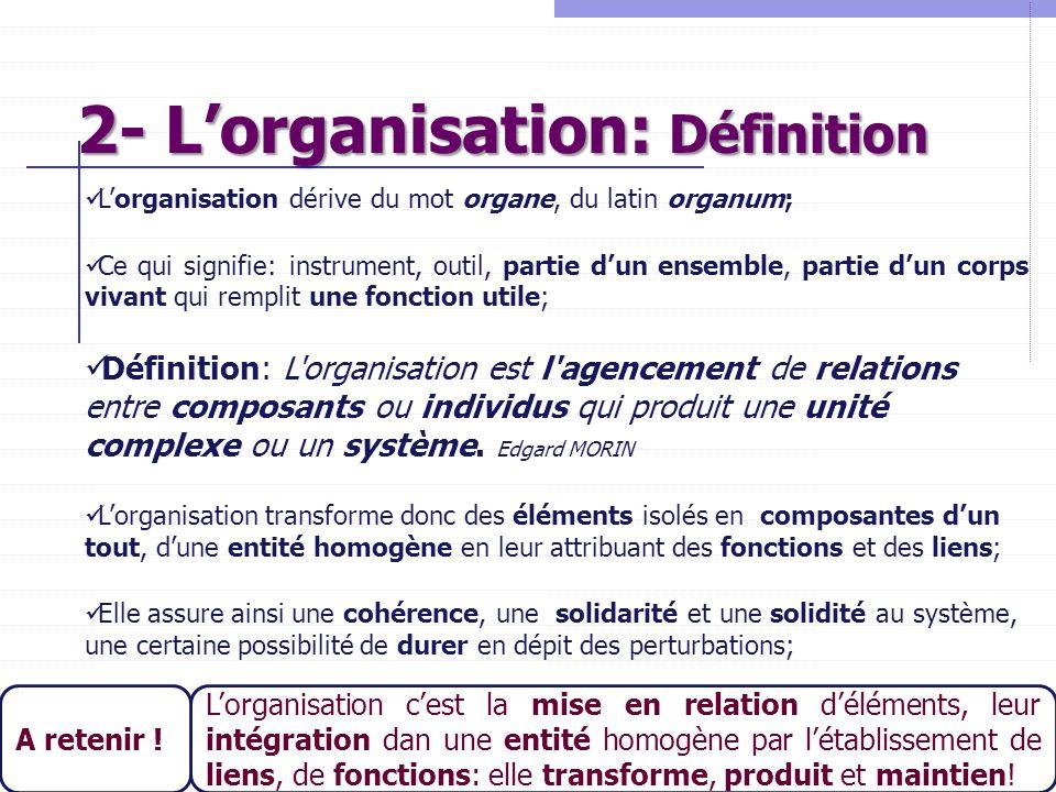 2- L'organisation: Définition