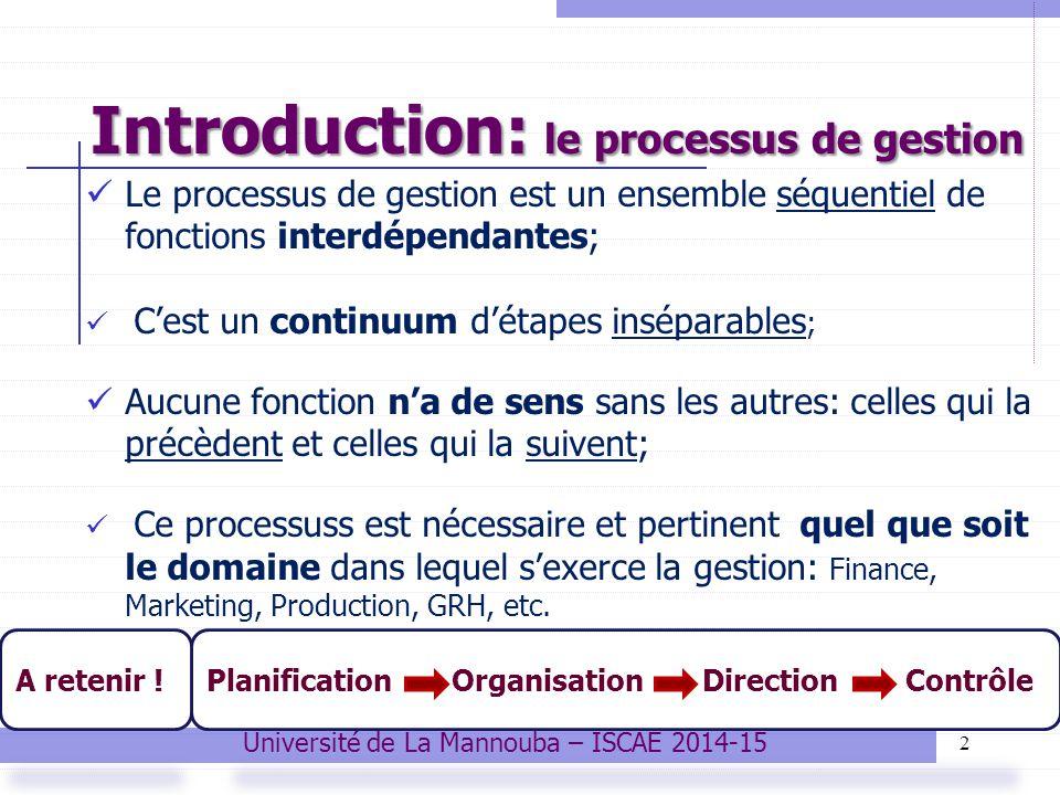 Introduction: le processus de gestion