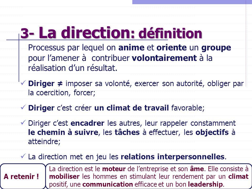 3- La direction: définition