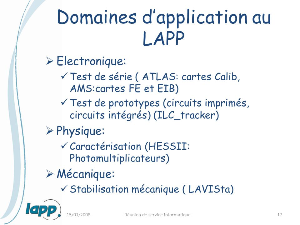 Domaines d'application au LAPP