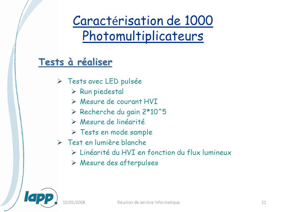 Caractérisation de 1000 Photomultiplicateurs