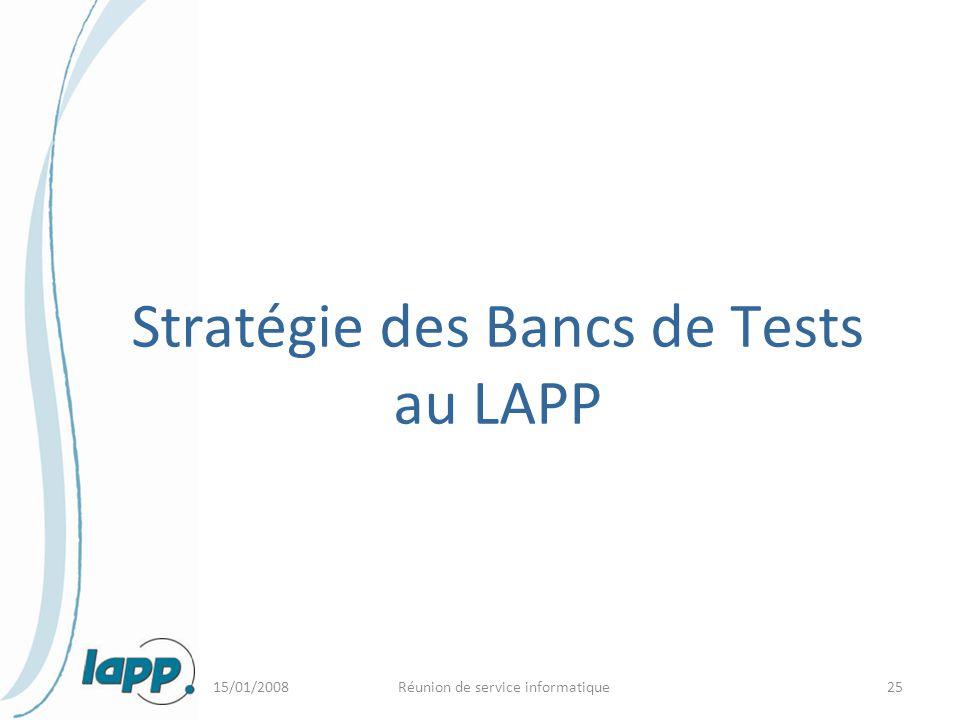 Stratégie des Bancs de Tests au LAPP