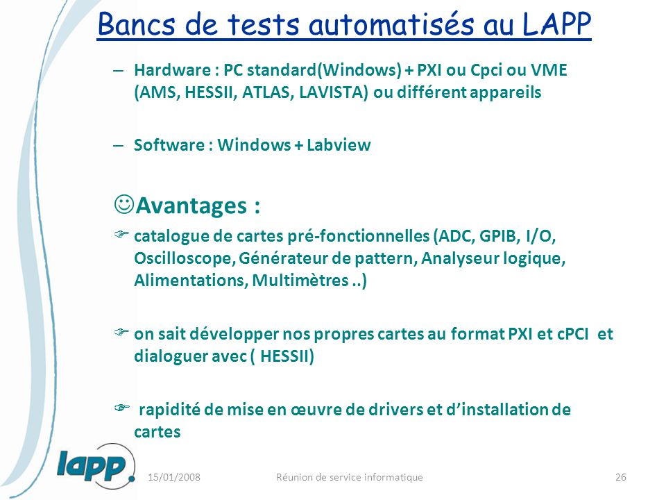Bancs de tests automatisés au LAPP