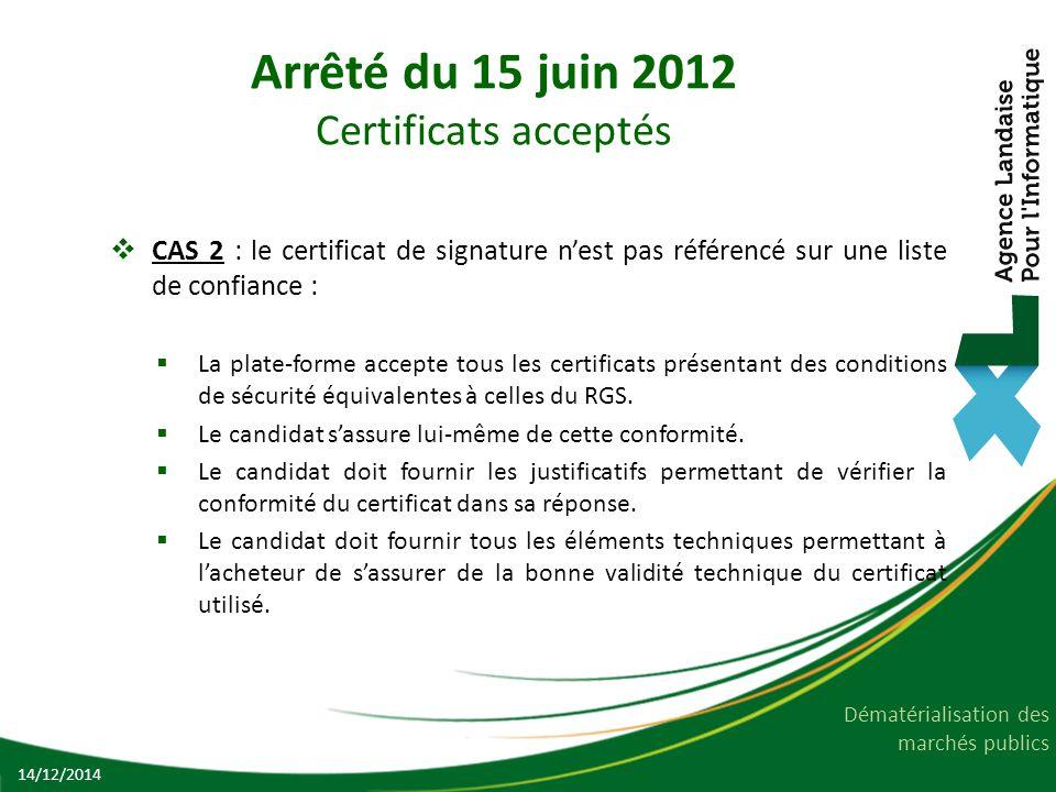 Arrêté du 15 juin 2012 Certificats acceptés