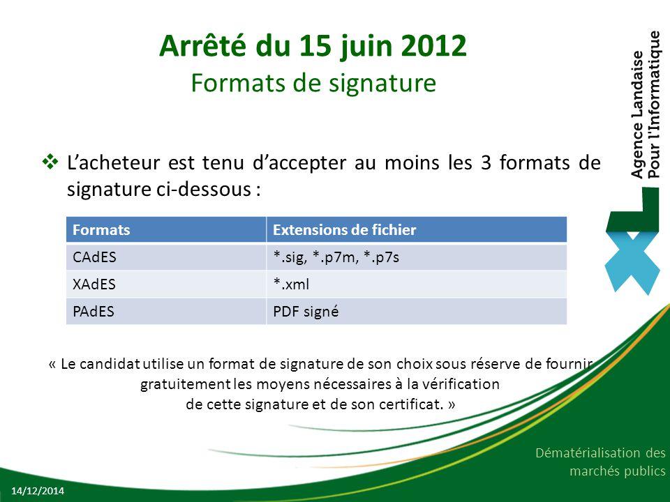 Arrêté du 15 juin 2012 Formats de signature