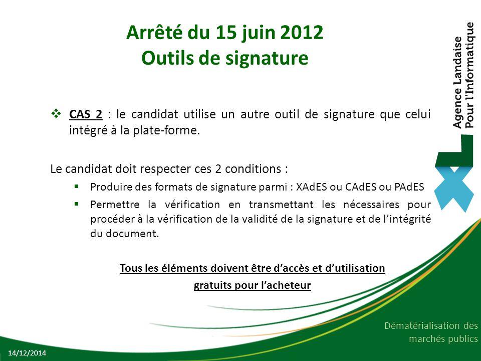 Arrêté du 15 juin 2012 Outils de signature