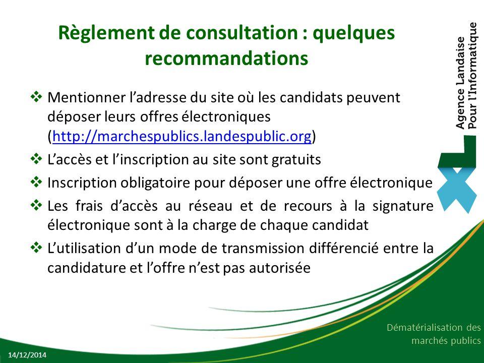 Règlement de consultation : quelques recommandations