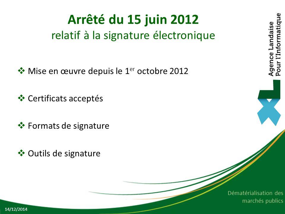 Arrêté du 15 juin 2012 relatif à la signature électronique