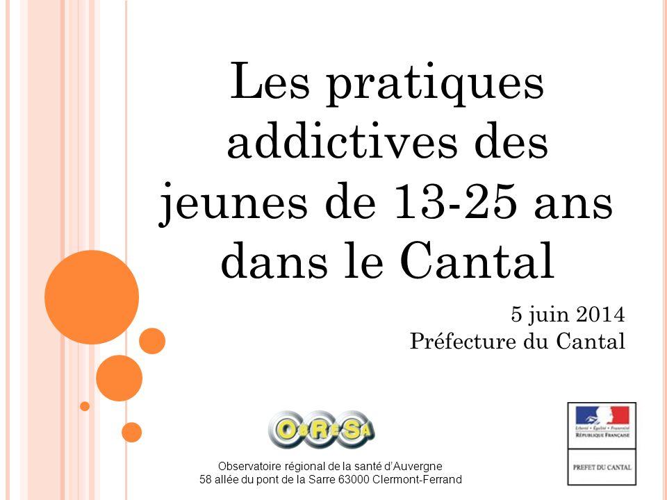 Les pratiques addictives des jeunes de 13-25 ans dans le Cantal
