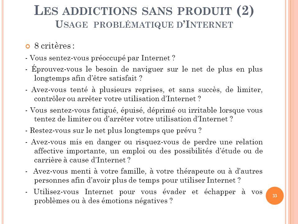 Les addictions sans produit (2) Usage problématique d'Internet