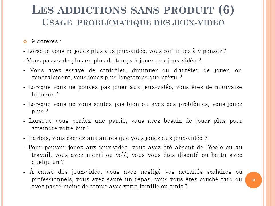 Les addictions sans produit (6) Usage problématique des jeux-vidéo