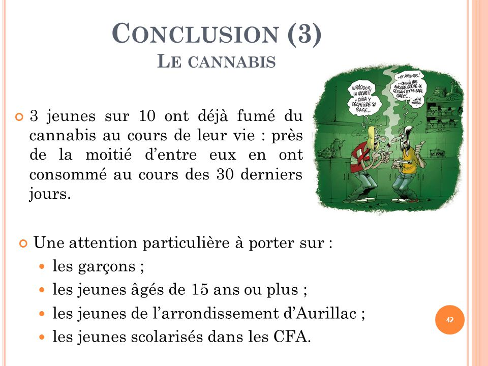 Conclusion (3) Le cannabis
