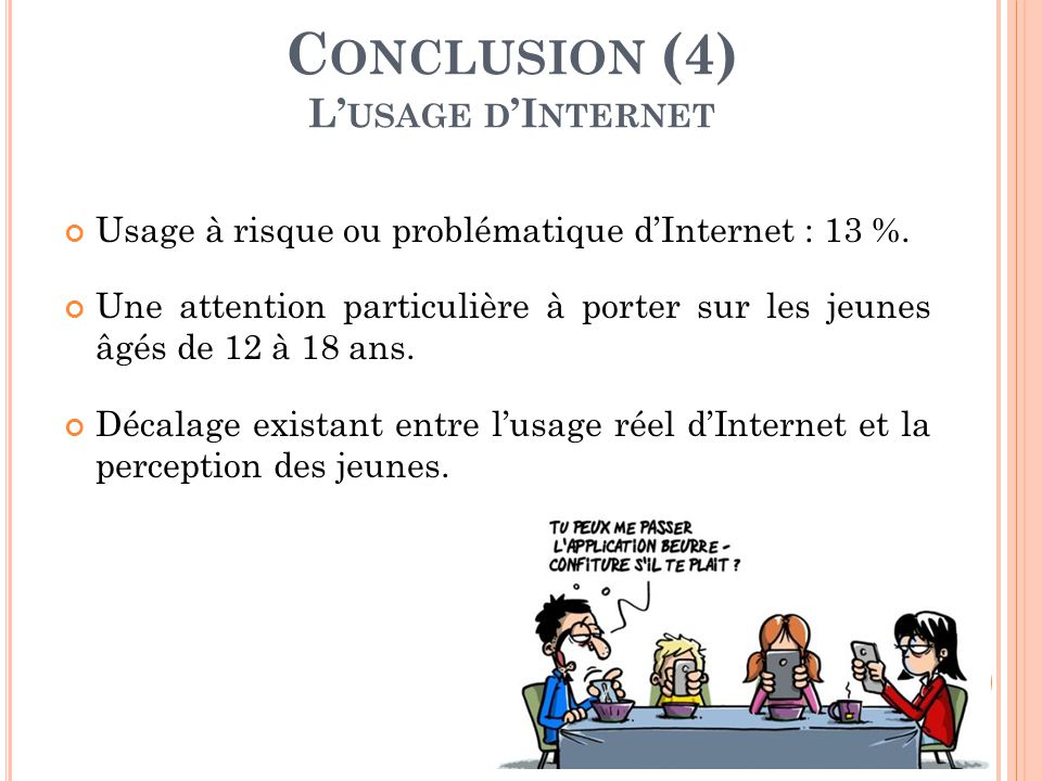 Conclusion (4) L'usage d'Internet