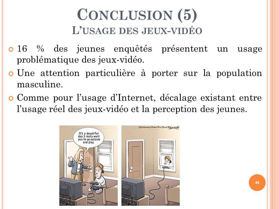 Conclusion (5) L'usage des jeux-vidéo