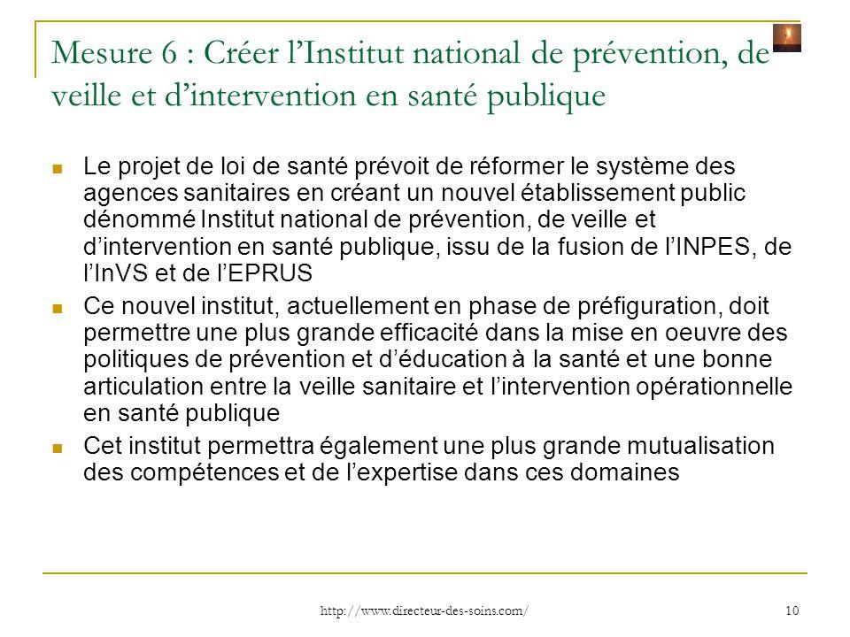 Mesure 6 : Créer l'Institut national de prévention, de veille et d'intervention en santé publique