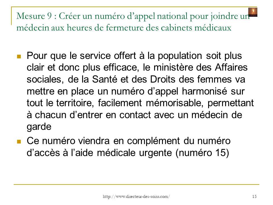 Mesure 9 : Créer un numéro d'appel national pour joindre un médecin aux heures de fermeture des cabinets médicaux