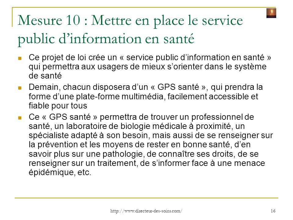 Mesure 10 : Mettre en place le service public d'information en santé