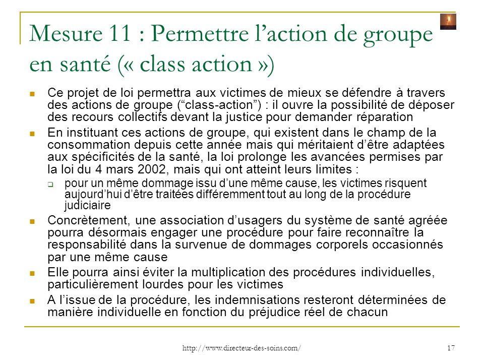 Mesure 11 : Permettre l'action de groupe en santé (« class action »)