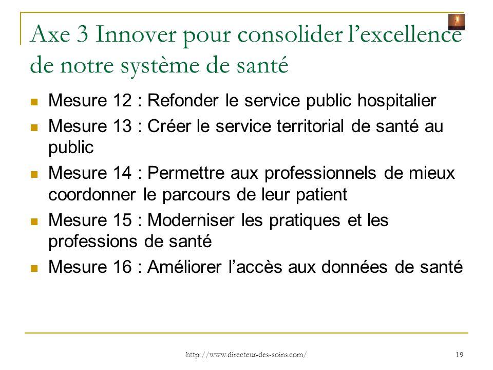 Axe 3 Innover pour consolider l'excellence de notre système de santé