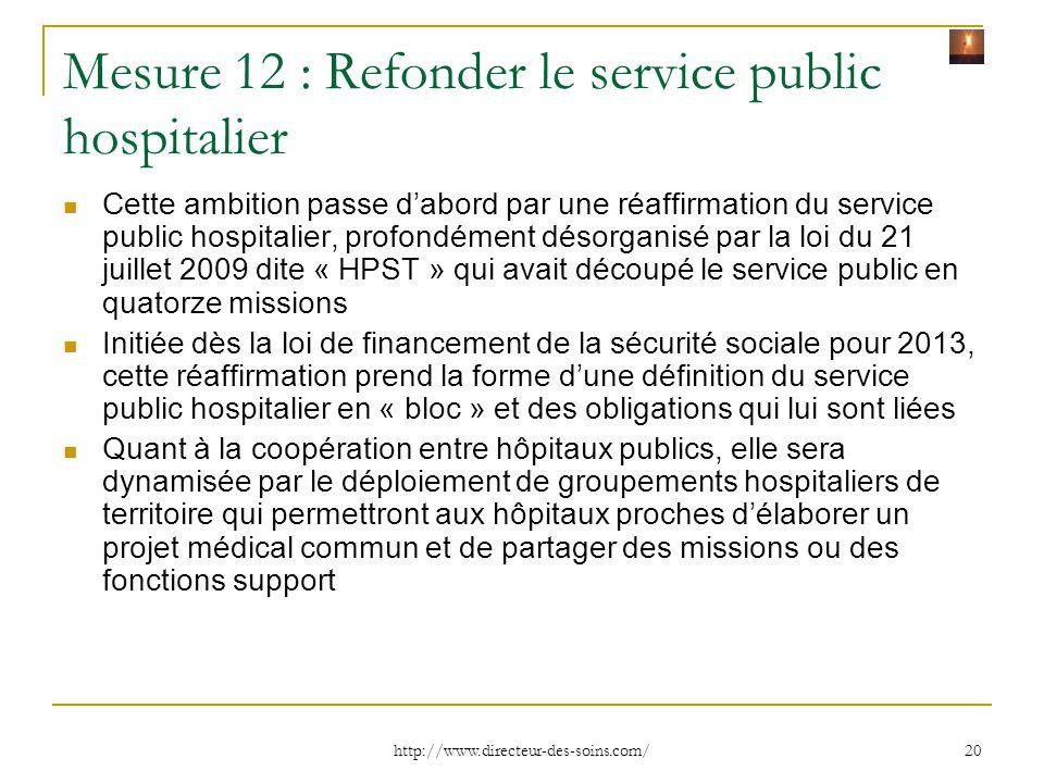 Mesure 12 : Refonder le service public hospitalier