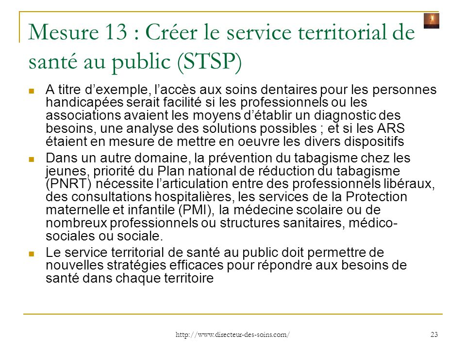 Mesure 13 : Créer le service territorial de santé au public (STSP)