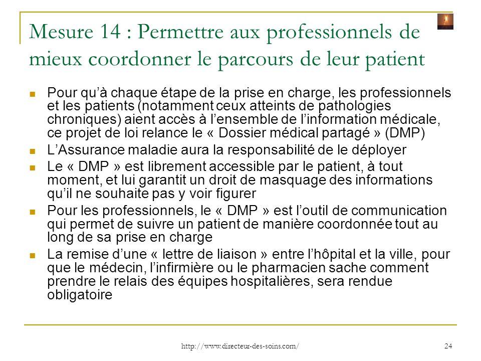 Mesure 14 : Permettre aux professionnels de mieux coordonner le parcours de leur patient