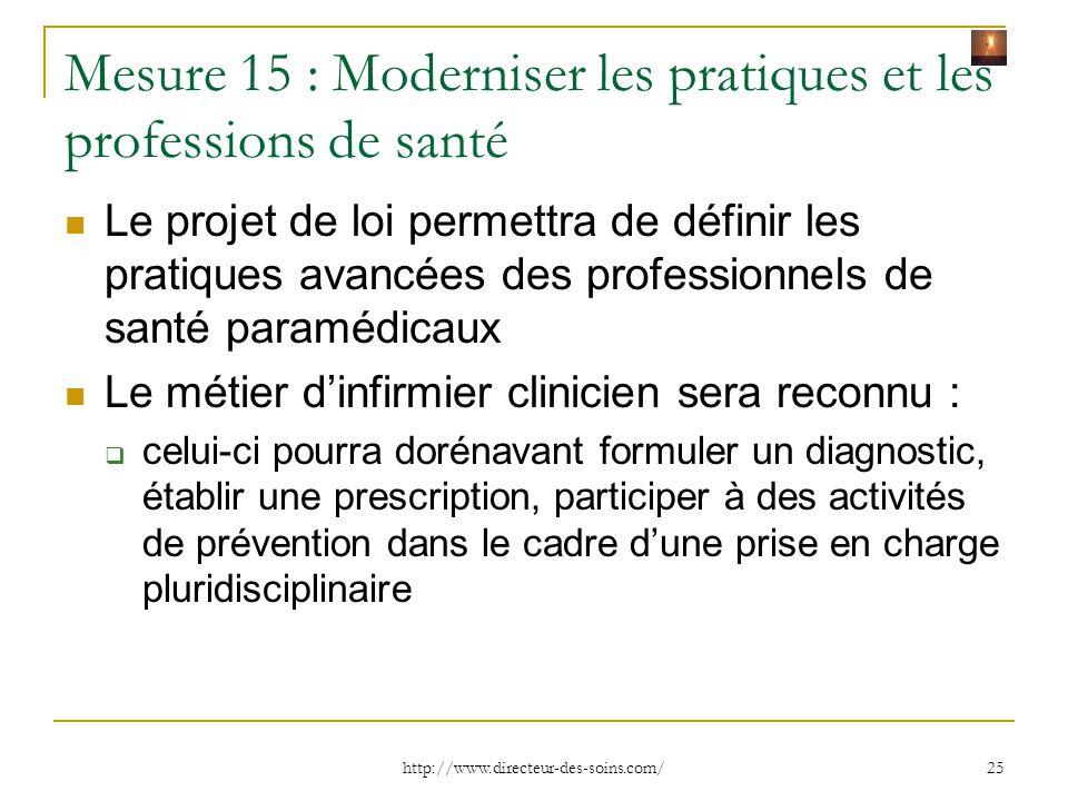 Mesure 15 : Moderniser les pratiques et les professions de santé