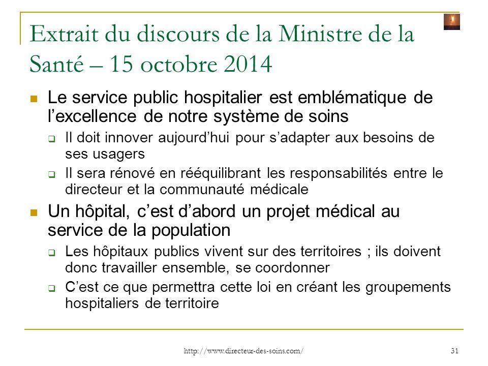 Extrait du discours de la Ministre de la Santé – 15 octobre 2014