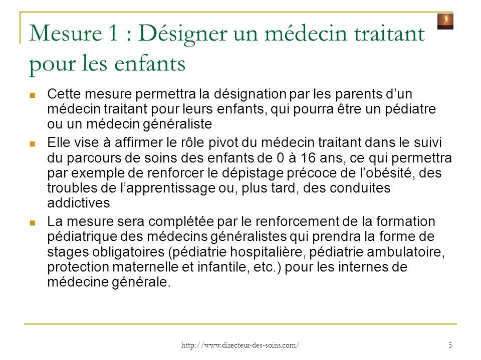 Mesure 1 : Désigner un médecin traitant pour les enfants