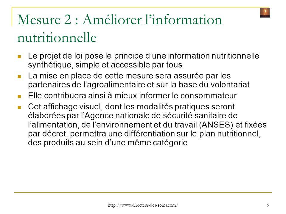 Mesure 2 : Améliorer l'information nutritionnelle