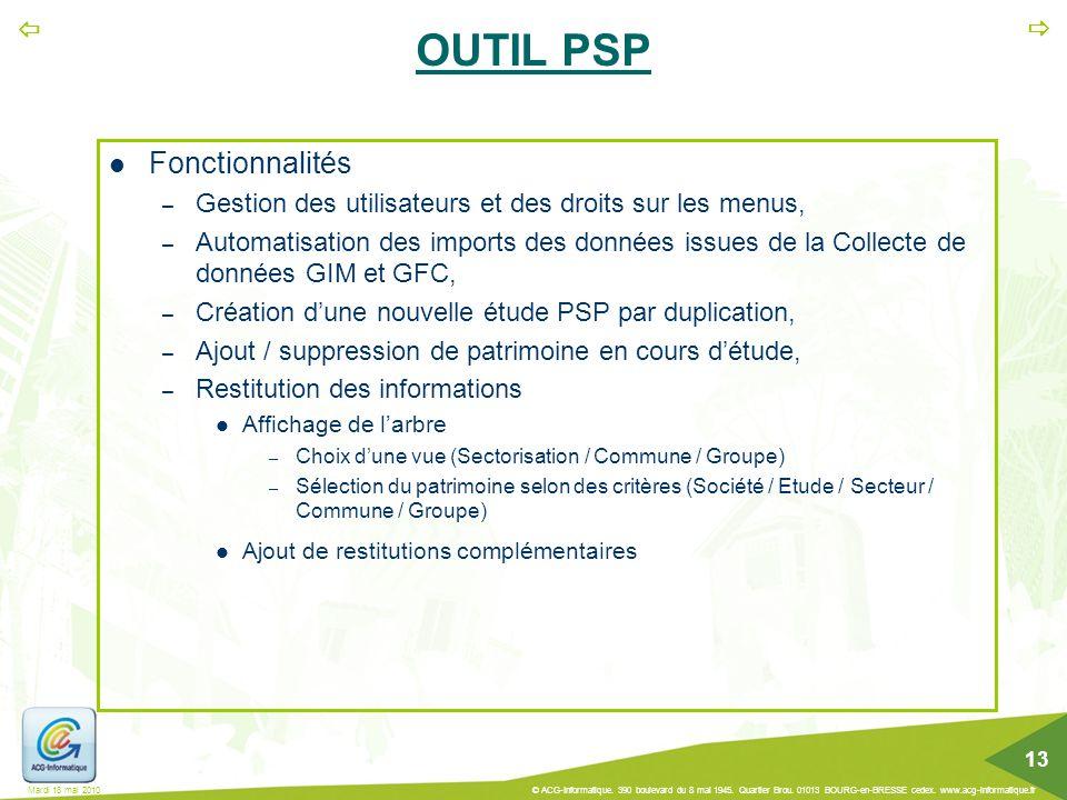 OUTIL PSP Fonctionnalités