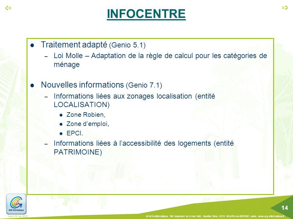 INFOCENTRE Traitement adapté (Genio 5.1)