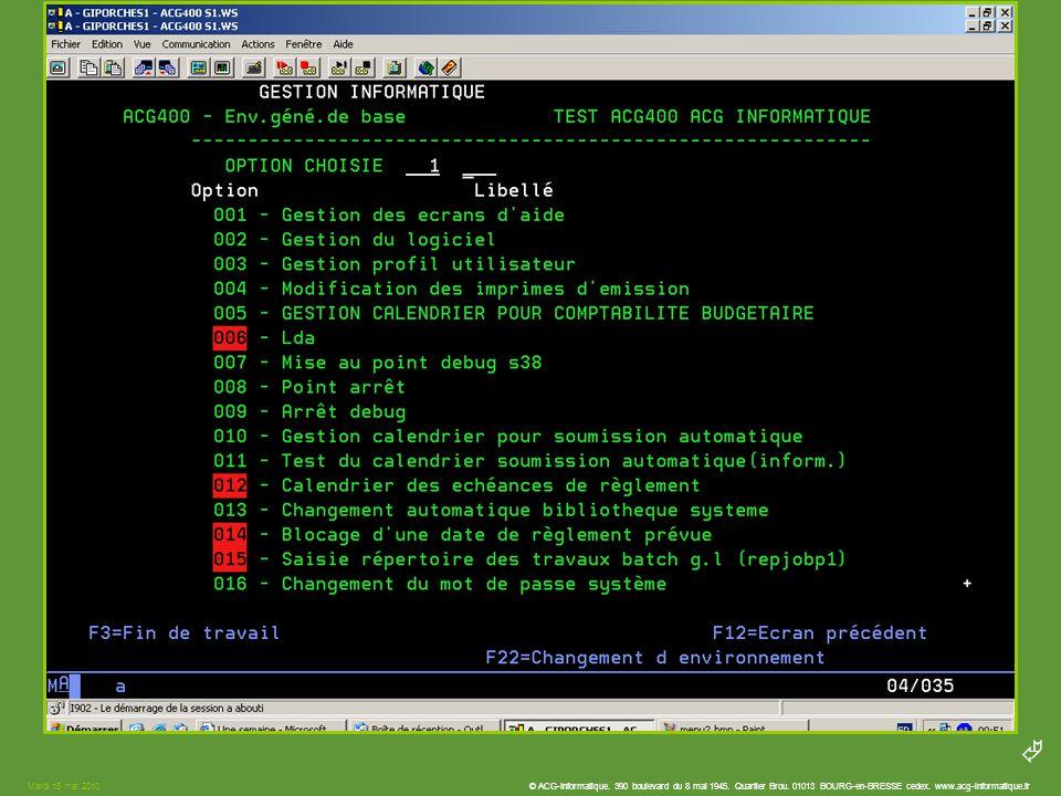 Mardi 18 mai 2010 © ACG-Informatique. 390 boulevard du 8 mai 1945.
