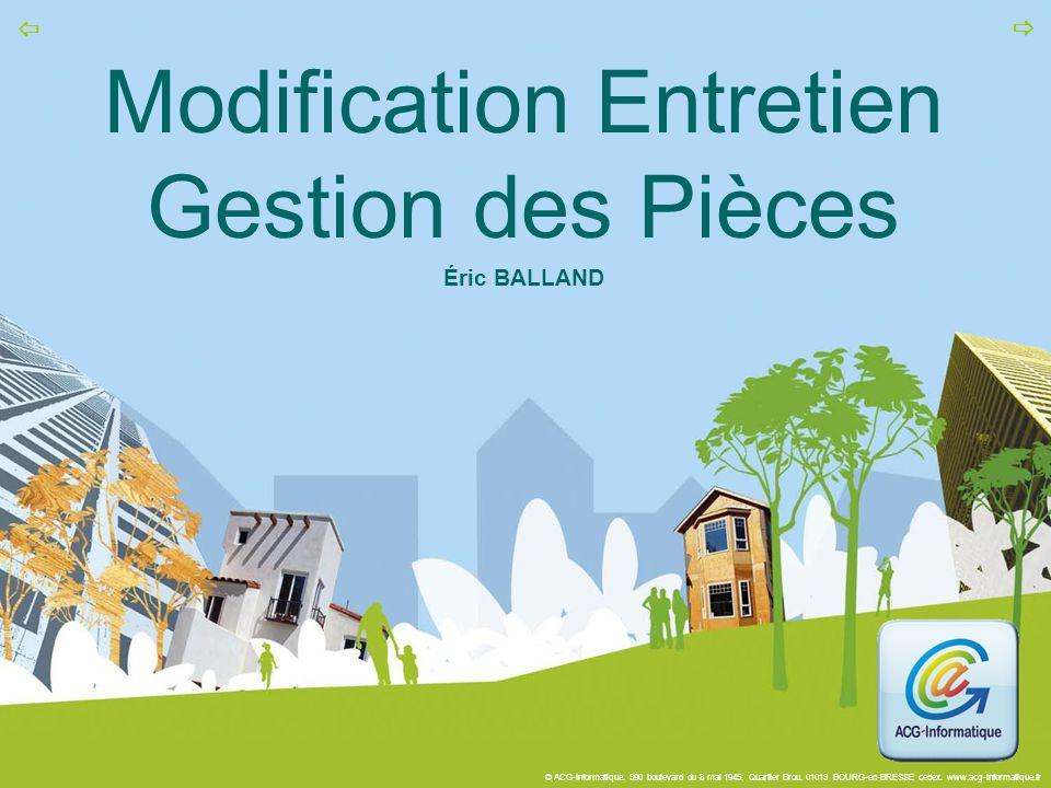Modification Entretien Gestion des Pièces Éric BALLAND