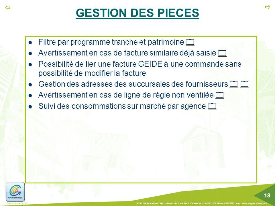 GESTION DES PIECES Filtre par programme tranche et patrimoine 