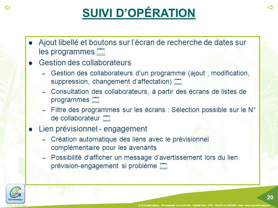 SUIVI D'OPÉRATION Ajout libellé et boutons sur l'écran de recherche de dates sur les programmes  Gestion des collaborateurs.