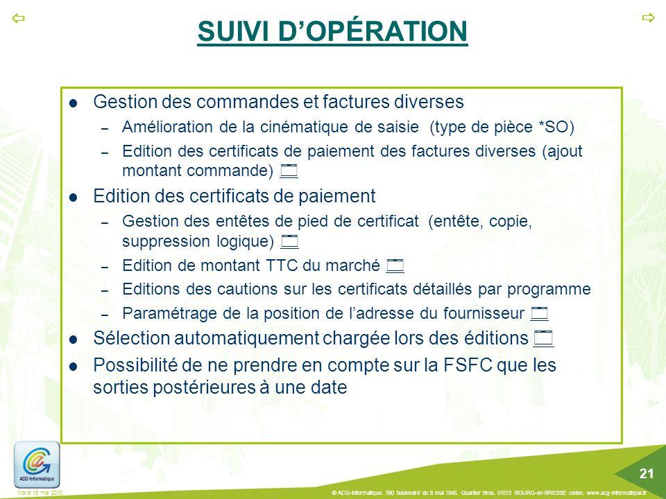 SUIVI D'OPÉRATION Gestion des commandes et factures diverses